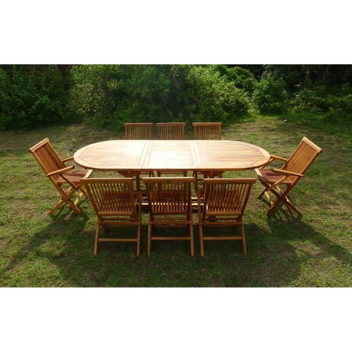 Ensemble de jardin en teck huilé MUNGGI 6 chaises 2 ...