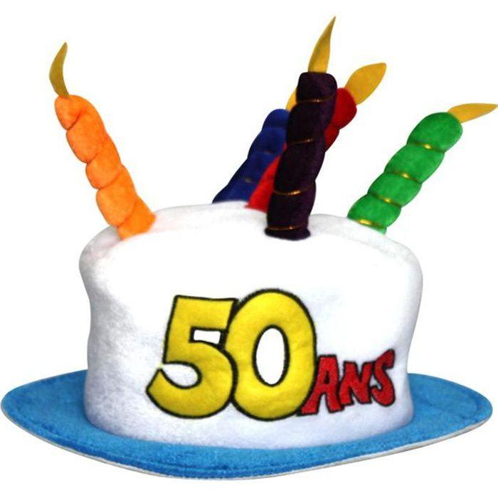 chapeau gateau anniversaire 50 ans achat vente chapeau perruque cdiscount. Black Bedroom Furniture Sets. Home Design Ideas