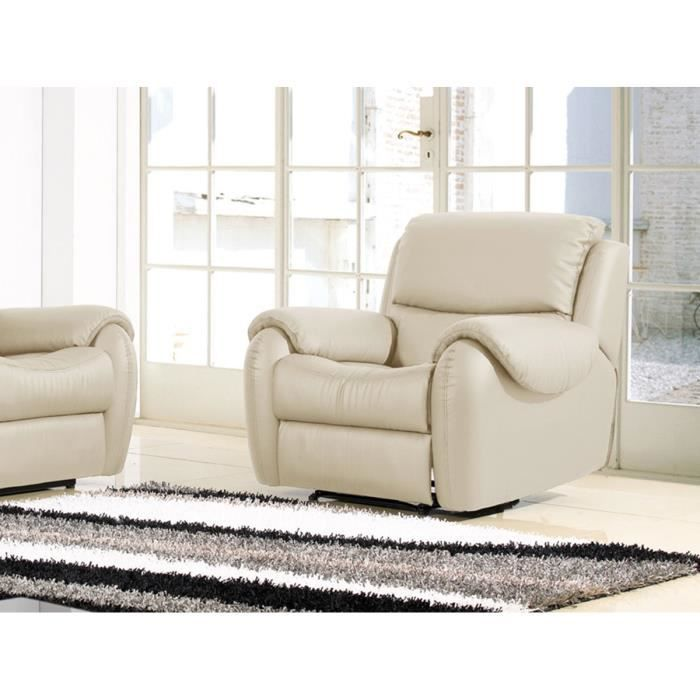 Fauteuil relaxation en cuir beige INAYA Achat Vente fauteuil