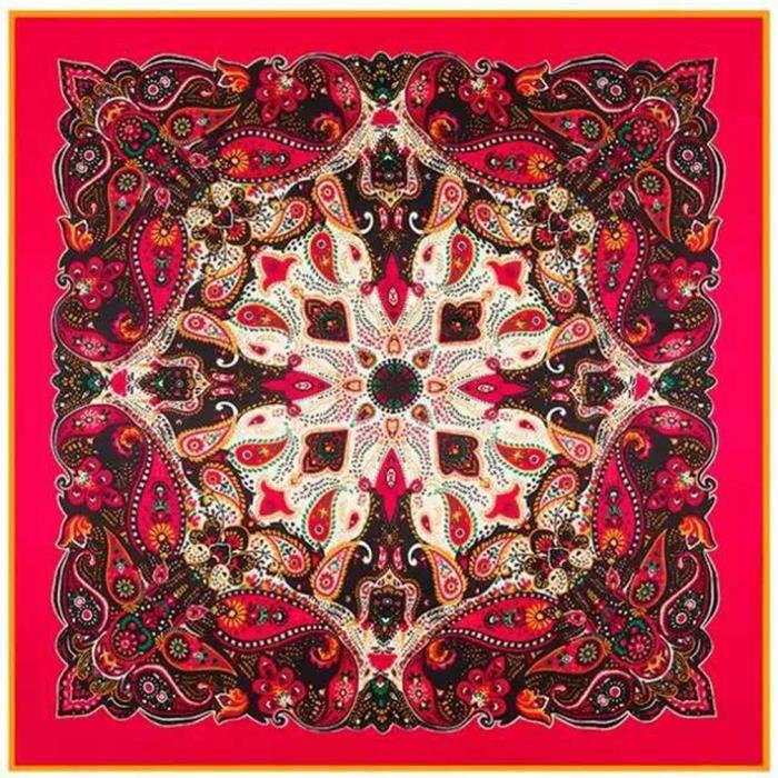 H Cadeau Foulard Carre de Soie Jacquard Kaléid... Vert Rouge - Achat ... 407990a80d6
