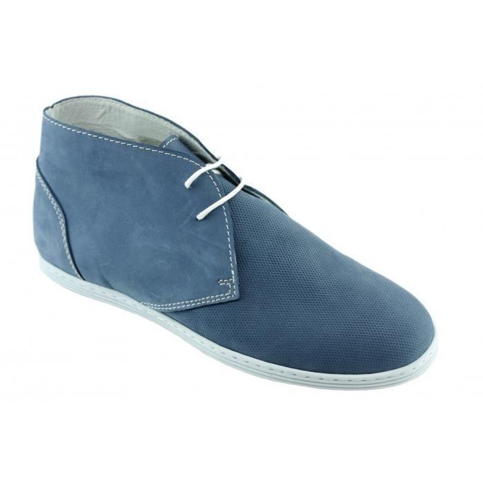 Remoir Perf - Chaussures Homme Désert Boot confortable semelle souple amovible avec absorbeur de choc pointure 39 46 cuir bleu