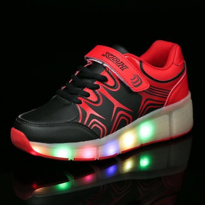 Enfants Roller Heelys Sneaker avec une roue Mode LED lumineux clignotant patins enfants garçon fille chaussures - Rouge