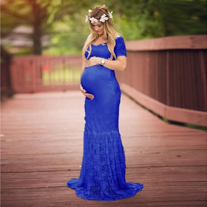 Deessesale®Femmes enceintes robe longue photographie sexy props hors épaules V-Neck dentelle Bleu FSW71221455BU