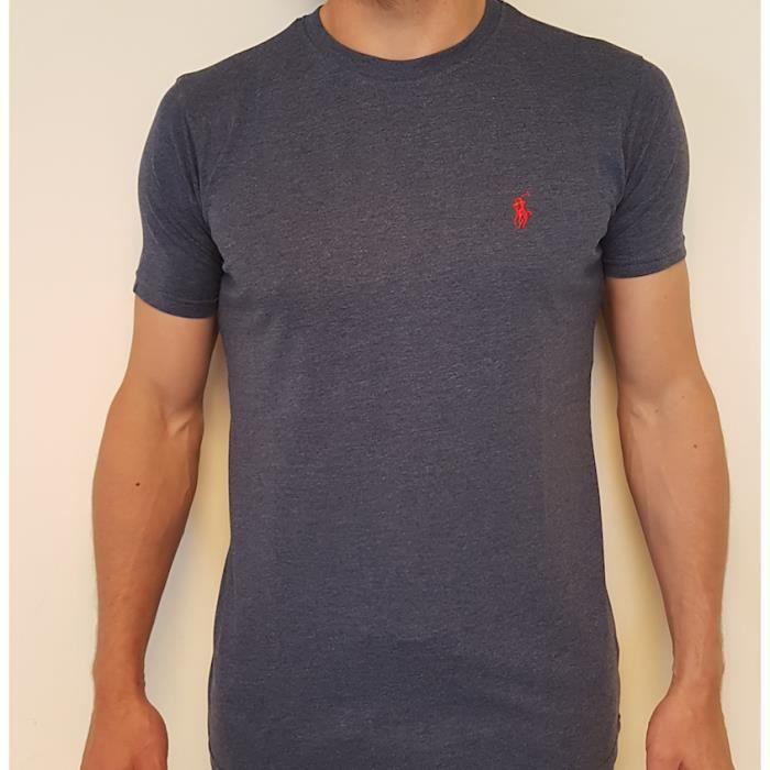72e901f05db210 T-Shirt Ralph Lauren bleu chiné custom-fit Bleu BLEU CHINE - Achat ...