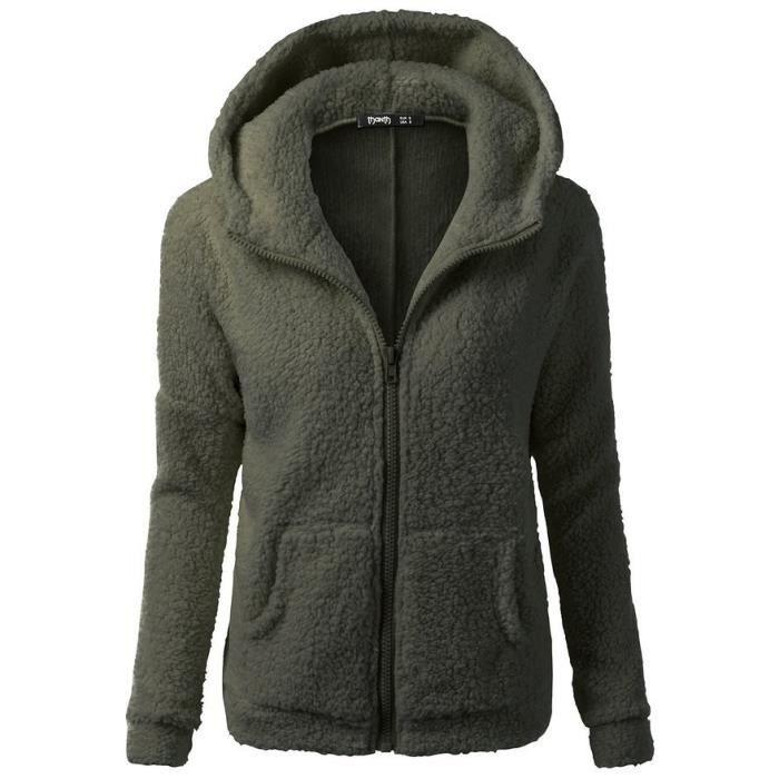 Veste Polaire Zippé Pour Femme Sweat-Shirt à Capuche Manches Longue Chaud  Automne Hiver S-5XL Vert Armée e7645c060384