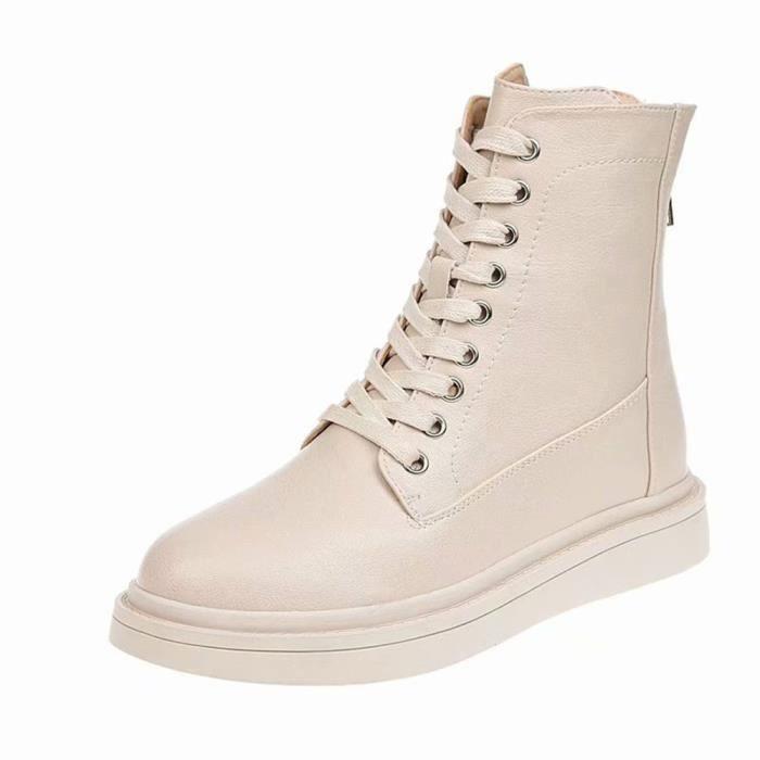 Avec Plat Femmes confor4455 Simples Cuir En Zipper Courtes Bottes Sauvage À Chaussures Lacets Retour Des qSBvZqxwa