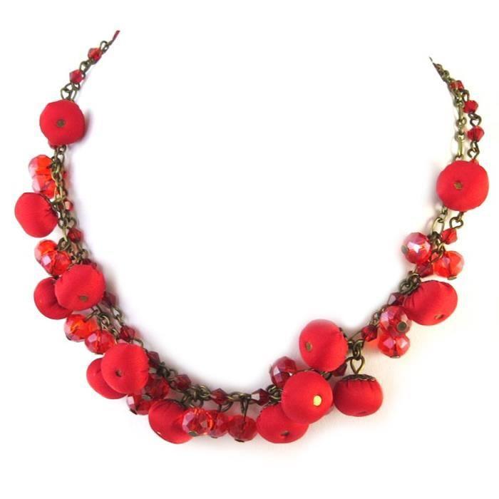 Collier artisanal Les Antoinettes rouge (fait main)... [P0792]