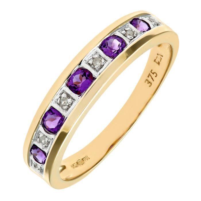 Revoni Bague alliance Améthyste et Diamant Or Jaune 375° FemmePoids du diamant : 0.02 ct -RVCDPR03027YAM