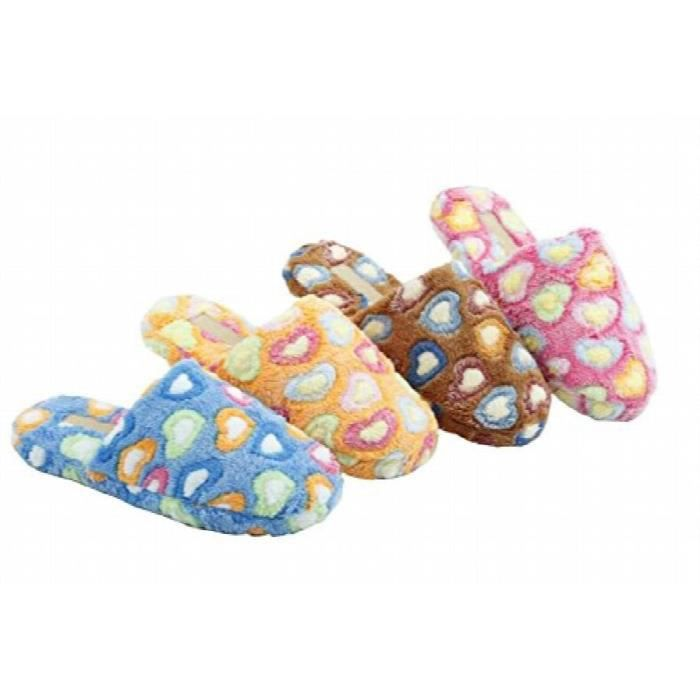 Soft Fleece Multicolor Casual Cozy Slide Slipper Slip-on Sandals With Hearts MJOFK Taille-S