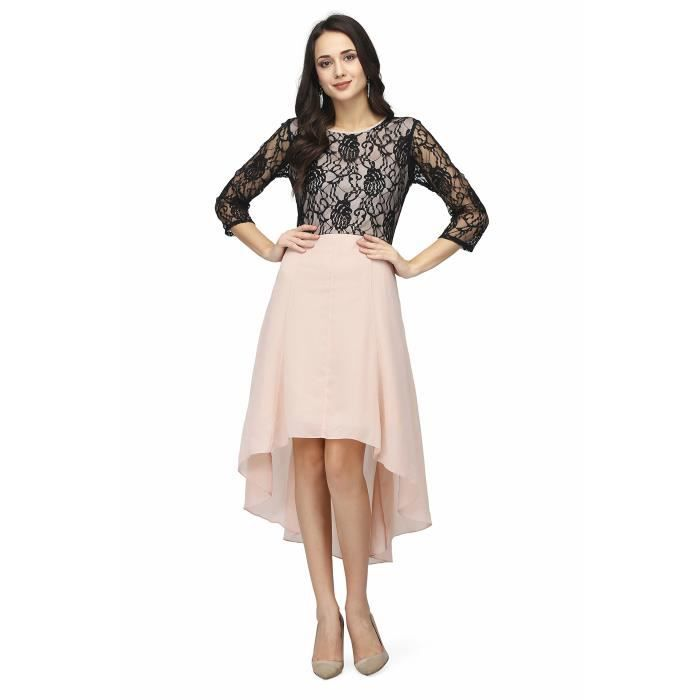 Womens Georgette High Low Asymmetric Casual Dress SFH94 Taille-36