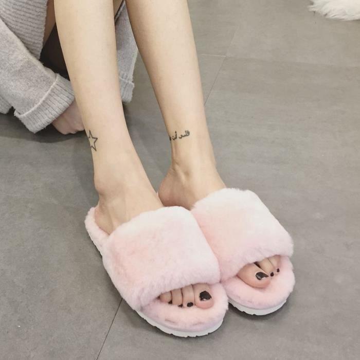 Peau de mouton naturelle Chaussons Mode hiver toes femmes Intérieur Chaussons fourrure chaude de haute qualité laine douce en