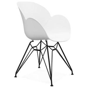 CHAISE Chaise blanche scandinave et industrielle Dorotea