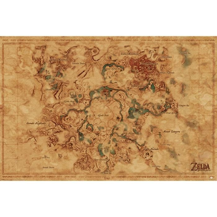 Poster The Legend Of Zelda - Breath Of The Wild Hyrule World Map (61 on hyrule world map, bomberman world map, official ffx world map, link's awakening map, pokemon world map, spirit tracks world map, majoras mask world map, minish cap world map, gears of war world map, fallout3 world map, spira world map, smw world map, fire temple ocarina of time map, pewdiepie world map, nes world map, fox world map, yoshi's island world map, star wars world map, a link to the past world map, spyro world map,