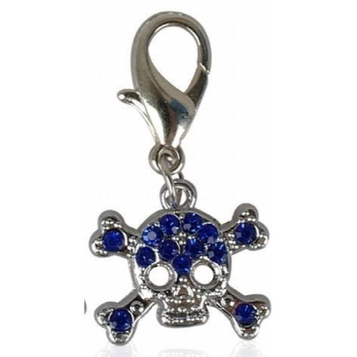 Sparkly Diamante (bleu Ou Clair Diamante) En Acier Inoxydable Crâne Et Os Croisés Forme Chien - Chat Animaux 3l7yzj