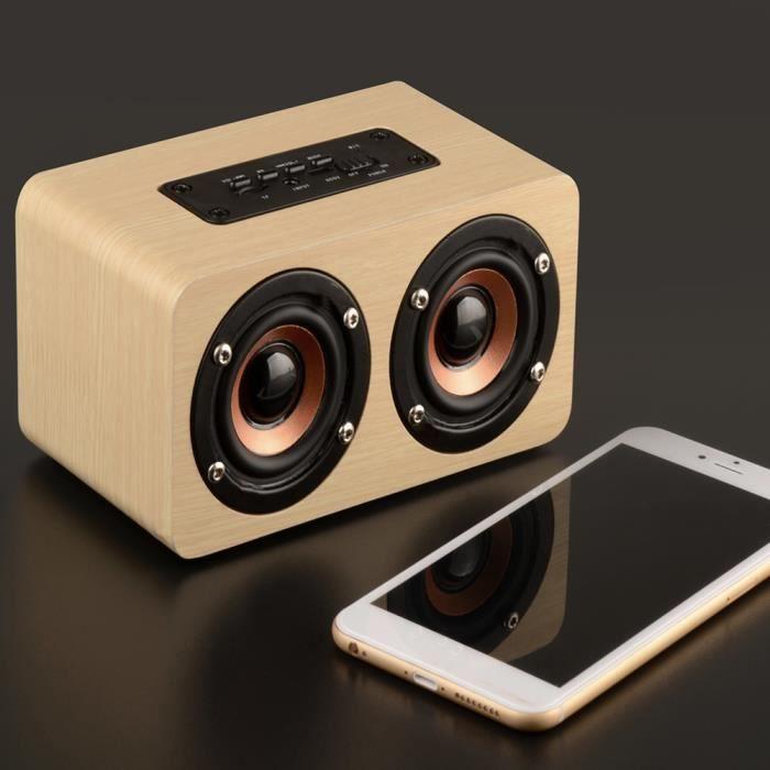 Bluetooth Sans Fil En Bois Haut-parleur Portable Hi-fi Shock Basse Beige Upzqs70903001be_118