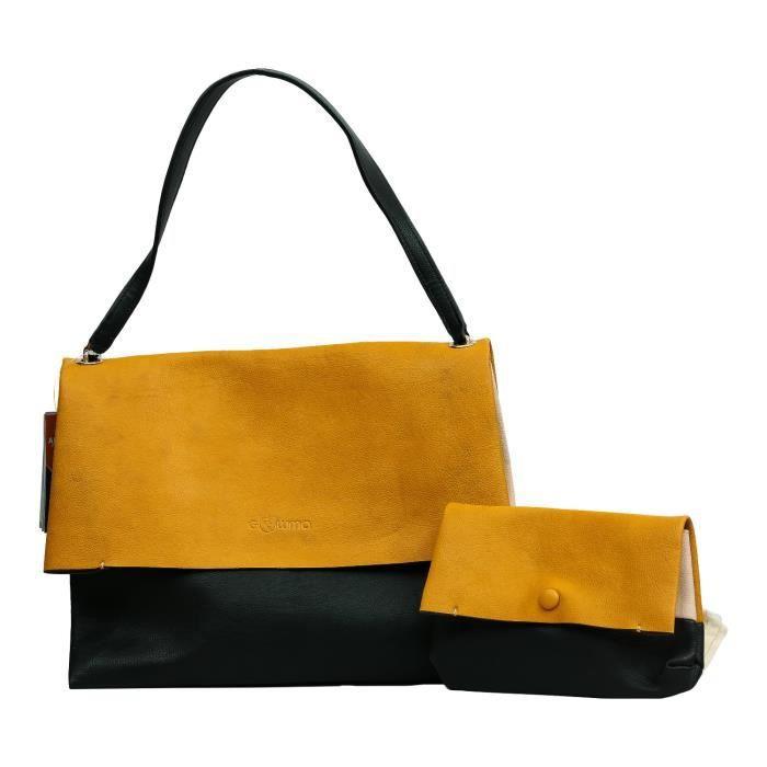 Femmes Substitute en cuir Une double couleur Combo Sac à main pour les filles - femmes Z969V