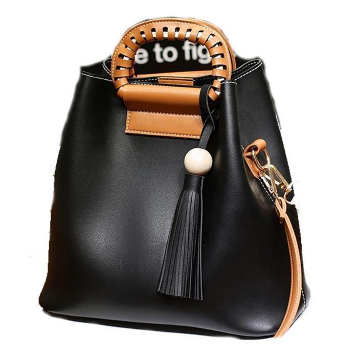 Casual style coréen épaule fourre-tout en cuir sac à main et sac à bandoulière ComboNON96