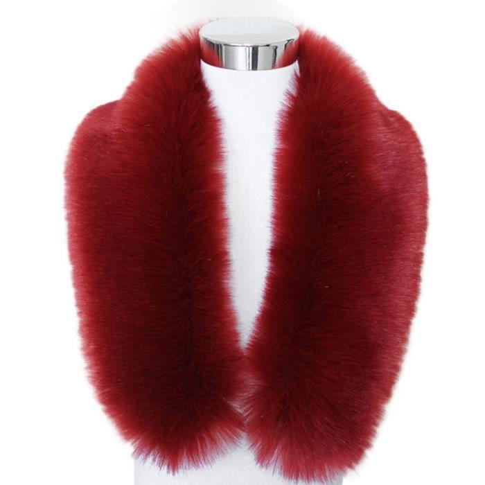 Col en fausse fourrure écharpe col châle femmes Wrap étole Foulards Vin  rouge LP-1013 ca5b1b8fc4b