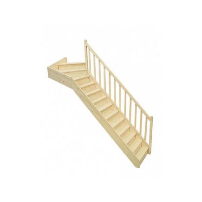 escalier 1/4 tournant haut droit en sapin - achat / vente escalier