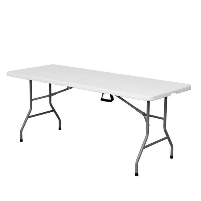 Table de jardin pliante 180cm plastique blanc - L 180 x l 70 x H 74 ...