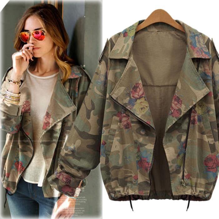 veste militaire en jean femme verte printemps grande taille marron achat vente veste. Black Bedroom Furniture Sets. Home Design Ideas