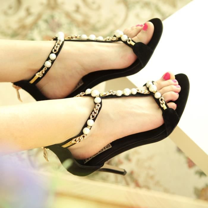 talons hauts-Stiletto en cuir peep toes talons hauts de femmes Pompes Sandales Retour Zippers