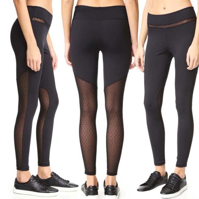 Skinny Leggings Mesh Middle Taille Patchwork Sexy Femmes Pousser tIwASq8x