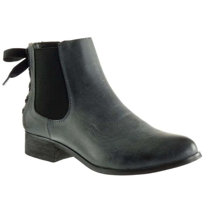 Angkorly - Chaussure Mode Bottine chelsea boots femme Lacet ruban satin Talon haut bloc 3.5 CM - Intérieur Fourrée - Bleu - F911 T