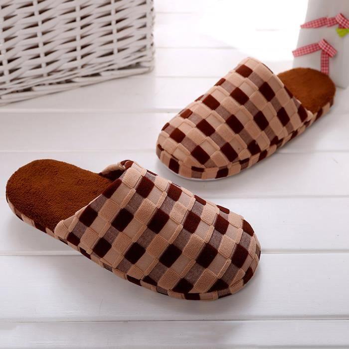 hiver Hommes maison d'intérieur Chaussures Faux Four Chaussons chauds marron WZI36Z