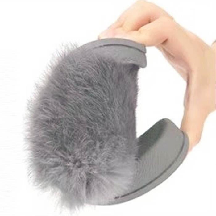 Womens Flat anti-dérapant doux Fluffy Faux fourrure Flat pantoufle Flip Flop