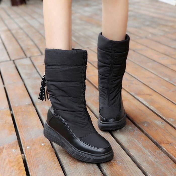 Talons noir Femmes Bottes Chaud Neige De Genou Chaussures Bottes Coton Plat Hiver xYqP1wzvx