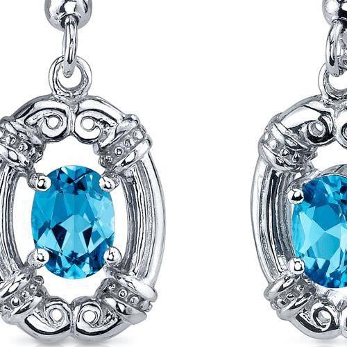 Boucles doreille Pendantes -Argent- Topaze bleue