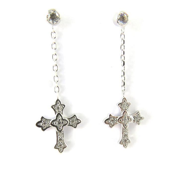 Altesse [M5892] - Boucles argent Croix Gothique blanc