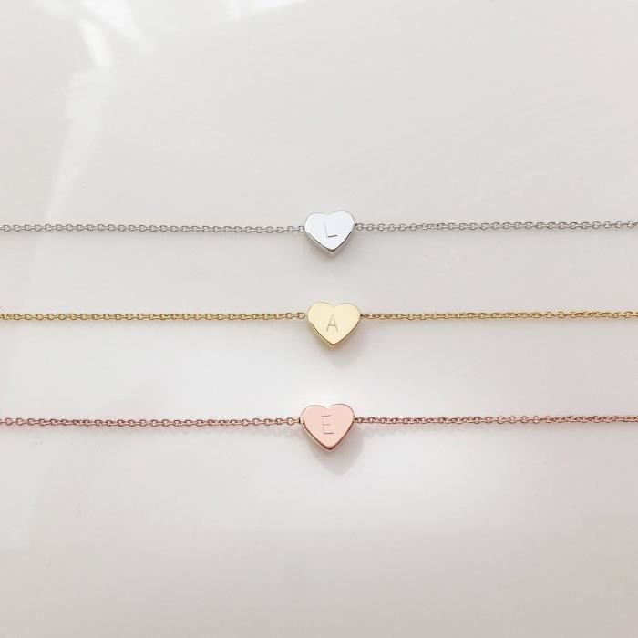 Womens Rose Gold Initial Necklace Valentines Day Gifts For Her Personalized Necklace Heart Neckla TLQS5