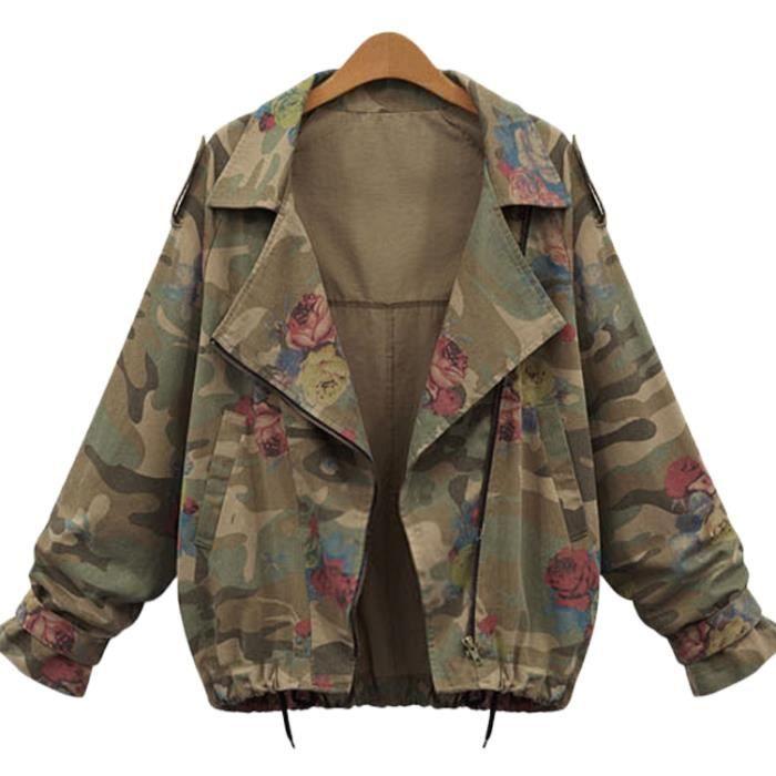 Militaire Printemps Taille Grande Veste Jean Verte Femme En UXdCPxqwP