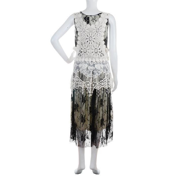 Crochet dentelle Boho Gilet sans manches Ajustée Femmes Flare Cocktail Party Dress 2TIWTN Taille-34