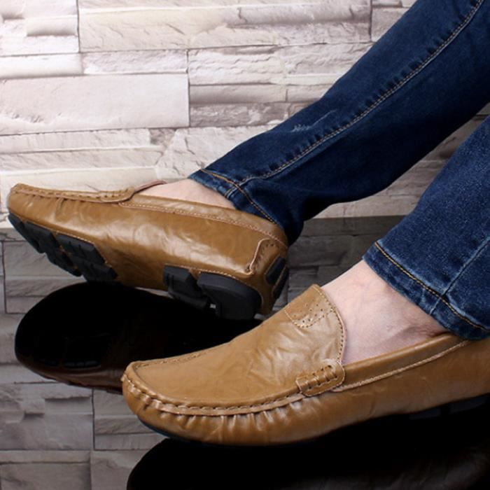 Mocassin Hommes Mode Chaussures Grande Taille Chaussures CHT-XZ73Marron50