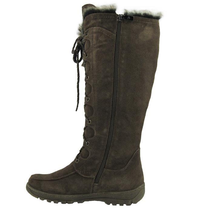 Bottes d'hiver neige Véritable vache en cuir suédé temps froid 3m Thinsulate Lined pleine Me résistant à l'eau J7HEL Taille-42