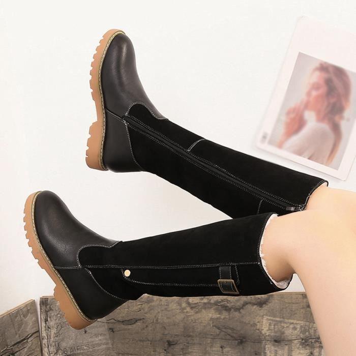 Chaudes Femmes Bottes Neige Zipper De Toe Carré En Veberge Chaussures Cuir Rondes 2049 Gardez Talon twfzCAqrtx