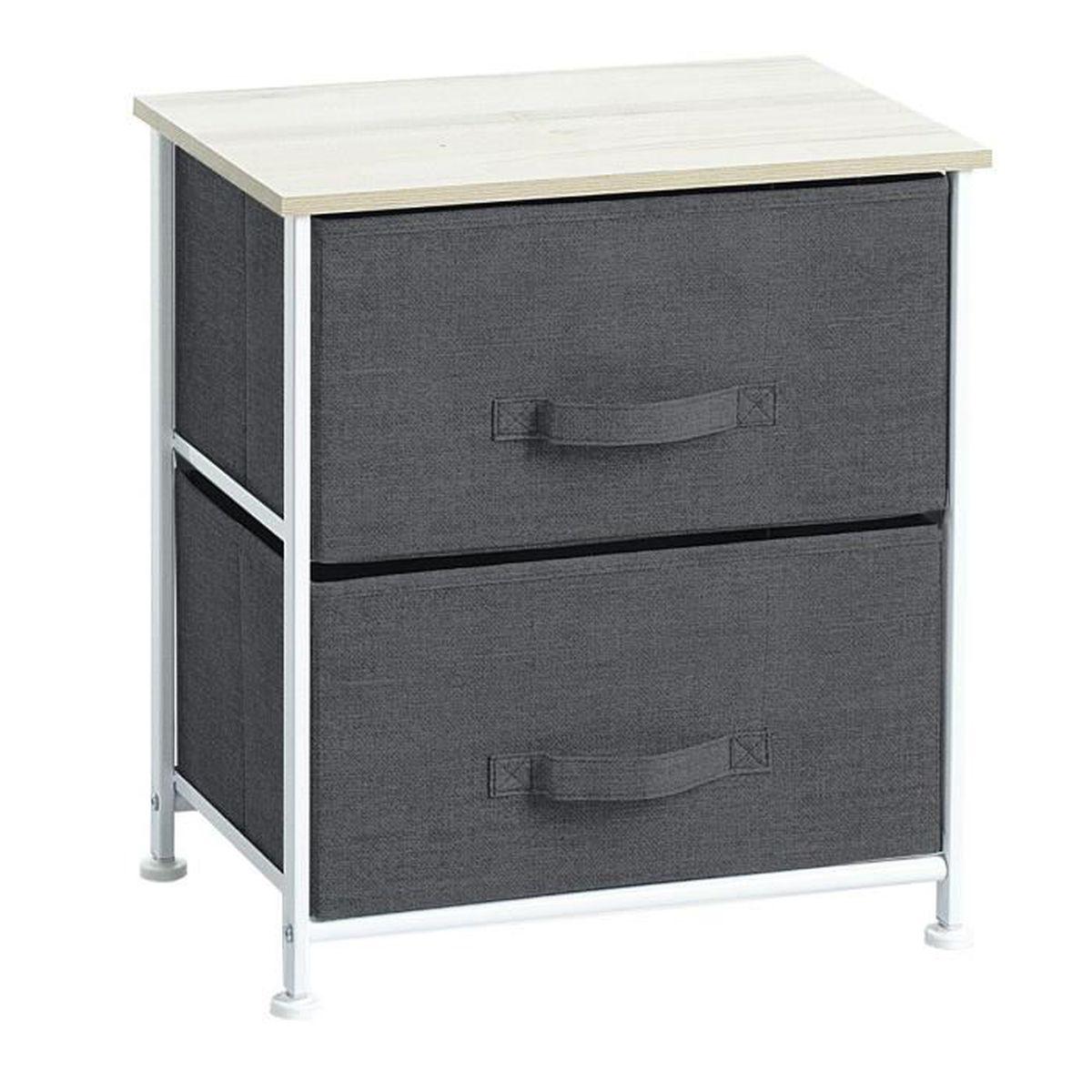 meuble de chevet table de nuit 2 tiroirs - chiné gris foncé gris