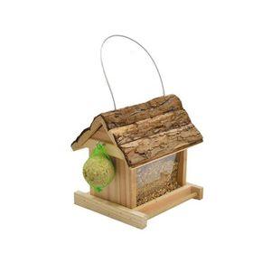 VADIGRAN Mangeoire Lidia toit écorce pour oiseau 19 x 17.5 x 19.5cm