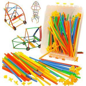 ASSEMBLAGE CONSTRUCTION roues, pailles et connecteurs tige jouets - jouets