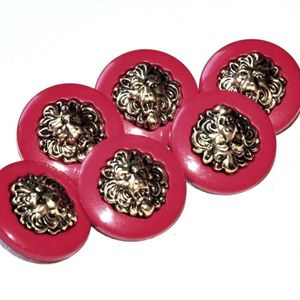 FERMETURE - BOUTON Lot de 6 boutons plastique rouge et métal doré têt