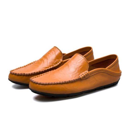 8659beea57b5cf Marque Qualité Chaussures Luxe Marron De 2018 Homme Ete Mocassin Cher Haut  Pas qzECYf