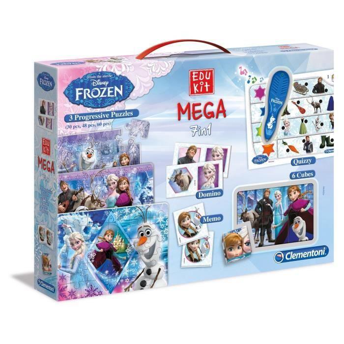 CLEMENTONI Mega Edukit 7 en 1 - La Reine des Neiges - 3 Puzzles, Domino, Mémo, 6 Cubes et Quizzy