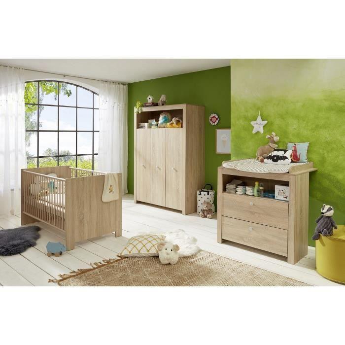 OLIVIA SONOMA Chambre bébé complète : lit 70*140cm + commode + armoire - Chêne naturel