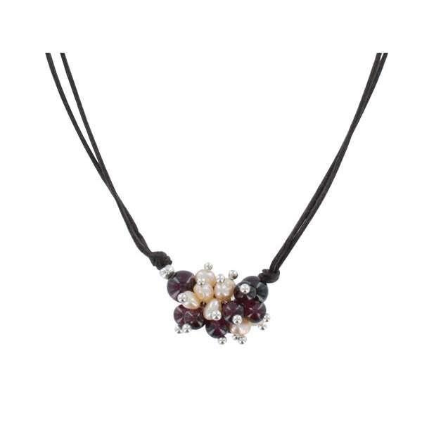 Jouailla - Collier cordon perles deau douce grenat, argent 925-1000e