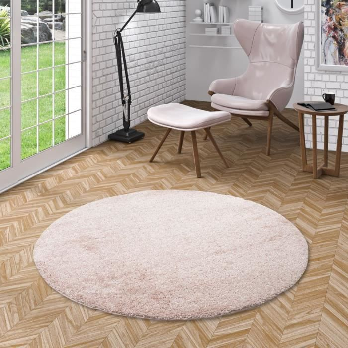 Aloha Tapis Shaggy A Poils Longs Rond Rose 120 Cm Rond Achat