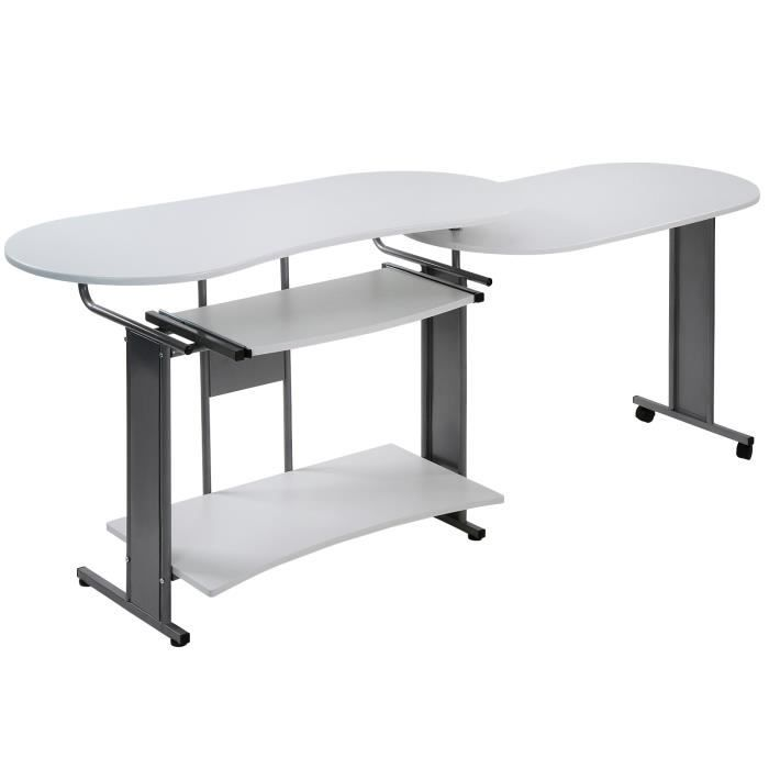 Bureau Modulable En Blanc Table Informatique Meuble D Ordinateur