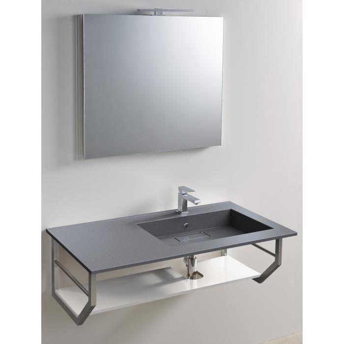 Plan Vasque Droite Elegance 105x55 - Couleur - Gris béton, Couleur ...